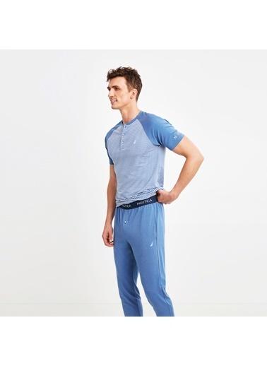 Nautica M107PJTK.IND Nautıca Erkek Mavi Pijama Takımı Mavi